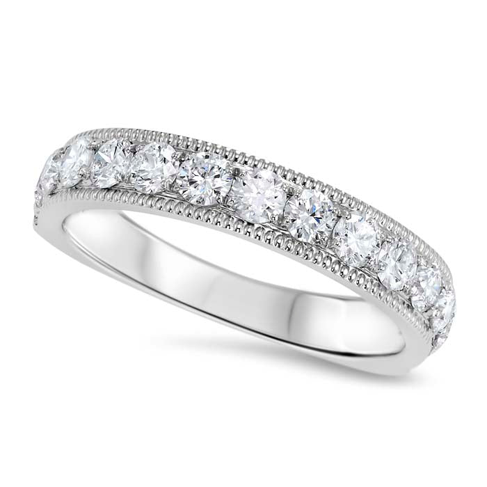 Gemsone Overtures Collection Milgrain Wedding Band 14K White Gold Ring with .50CTW Diamonds