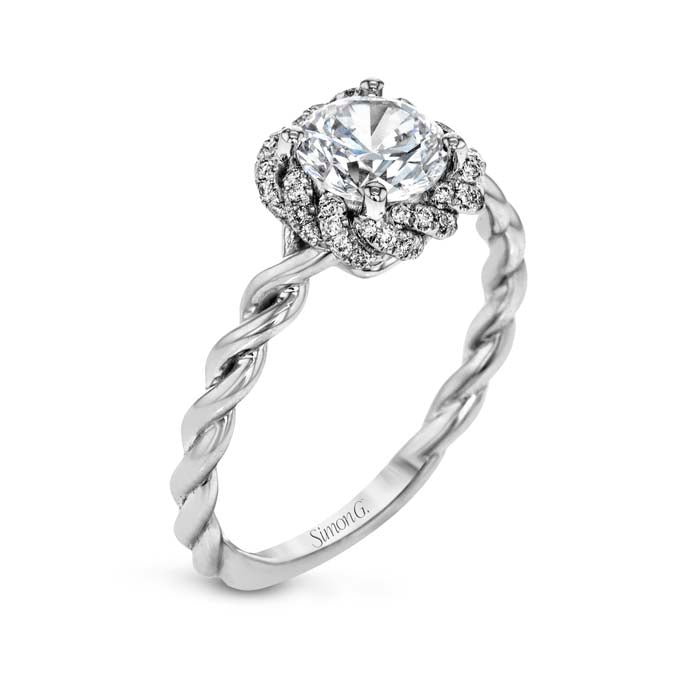 Simon G Twisted Cushion Diamond Halo Enagement Ring 18K White Gold Semi Mount