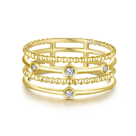 Gabriel & Co .05TW Diamond Fashion 4 Row Band in 14K Yellow Gold