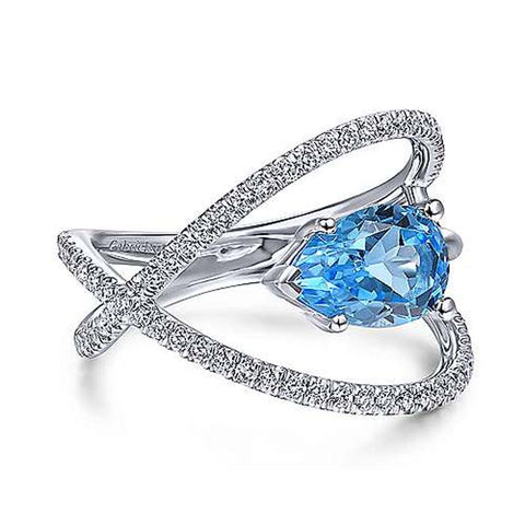 Gabriel & Co Swiss Blue Topaz and .36TW Crisscross Ring in 14K White Gold