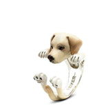 Dog Fever Labrador Retriever Hug Ring, Enameled Sterling Silver