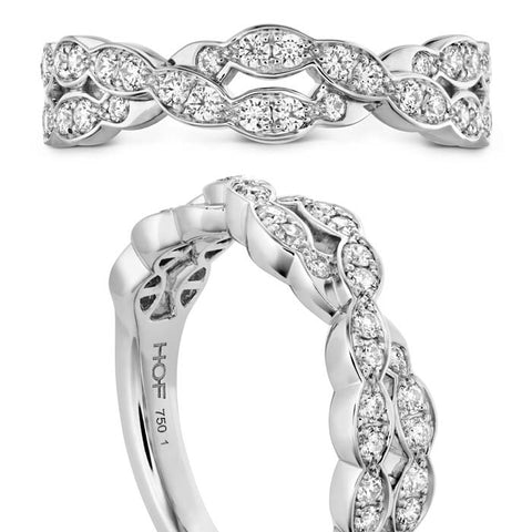Hearts on Fire .30-.34CTW Lorelei Floral Diamond Double Twist Band in 18K White Gold (Sensational Quality)