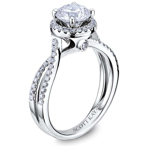 Scott Kay Comtemporary .31ctw Engagement Ring Semi Mount in 14K White Gold