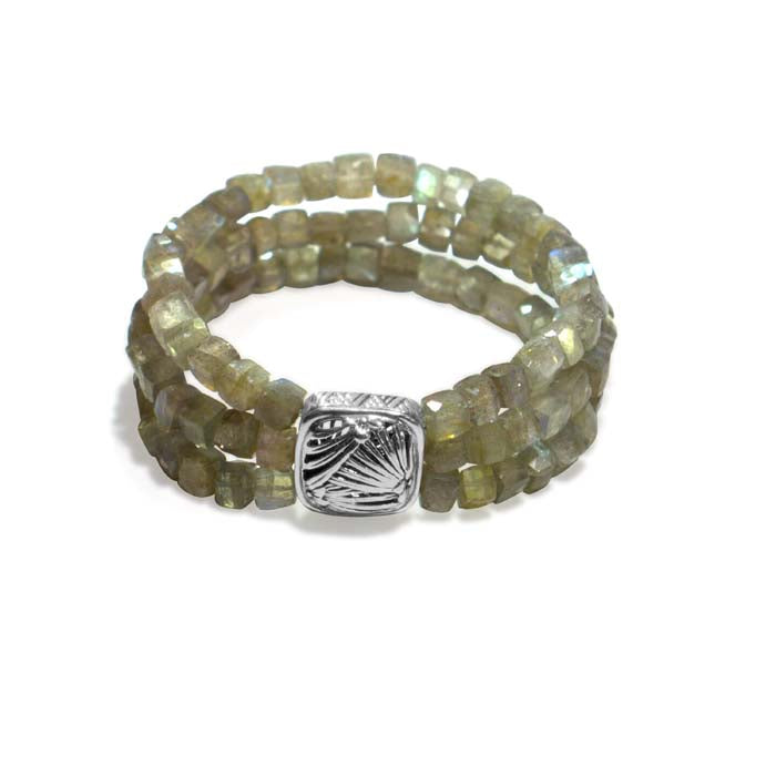 Stephen Dweck Labradorite 3-Strand Stretch Bracelet with Square Station in Sterling Silver