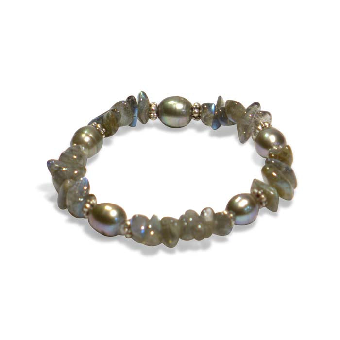 Stephen Dweck Labradorite and Pearl Single Strand Stretch Bracelet in Sterling Silver