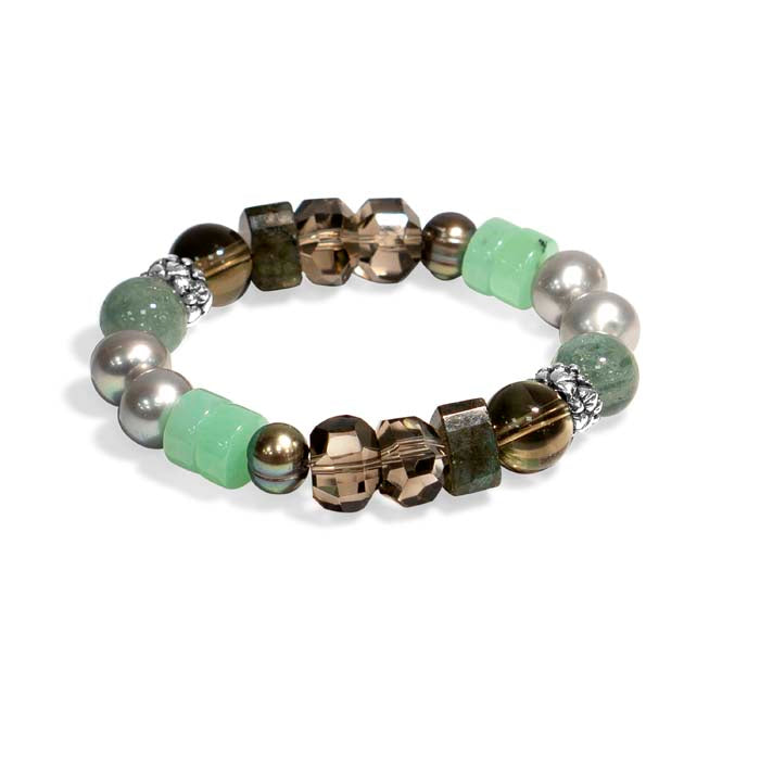 Stephen Dweck Pearl/Green/Brown Mixed Gemstone Single Strand Stretch Bracelet in Sterling Silver