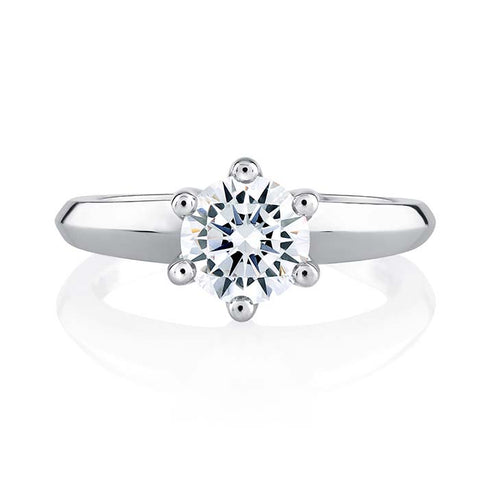 A. Jaffe Classics Collection 6 Prong Solitaire with 1CT CZ Center in 18K White Gold