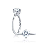 A. Jaffe .15TW Diamond Engagement Ring Art Deco Collection Semi-Mounting in 18K White Gold
