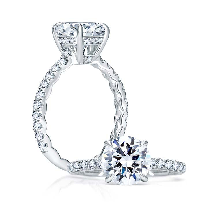 A. Jaffe .45TW Engagement Ring Classics Collection Semi-Mounting in 18K White Gold