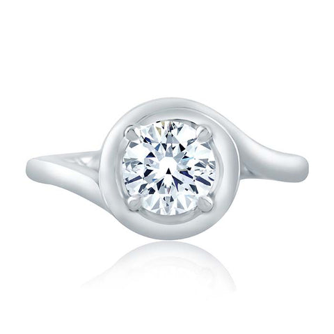 A Jaffe Engagement Ring Mounting 14K White Gold Ring