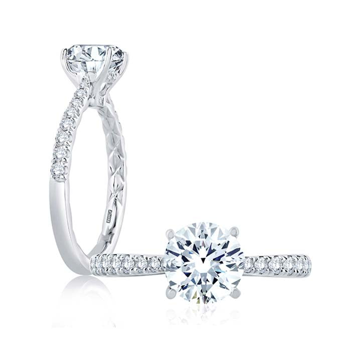 A. Jaffe .26TW Diamond Engagement Ring Semi-Mounting in 18K White Gold
