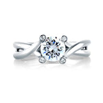 A Jaffe .03CTW Engagement Ring Semi Mount in 14K White Gold