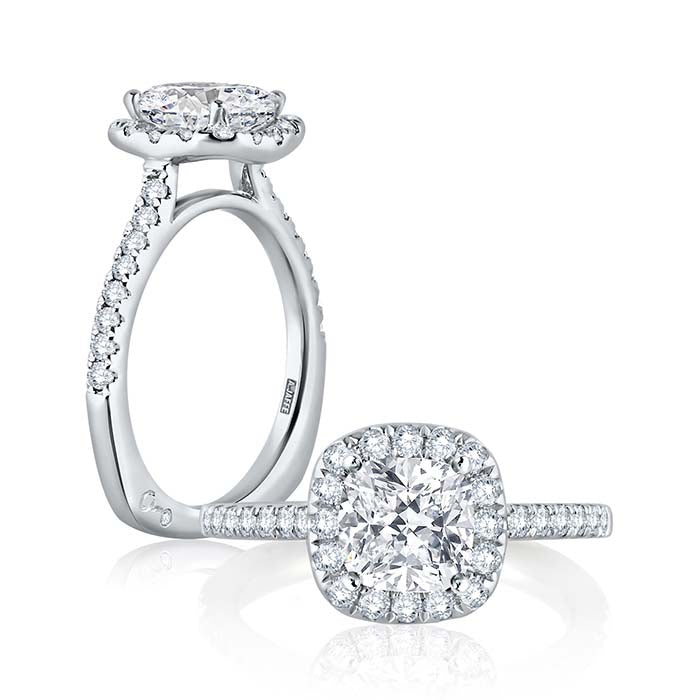 A. Jaffe .42TW Diamond Engagement Ring Metropolitan Collection Semi-Mounting in 18K White Gold