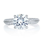 A Jaffe Engagement Ring Semi Mount 14K White Gold with .26CTW Diamonds