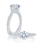 A. Jaffe .30TW Diamond Engagement Ring Classics Collection Semi-Mounting in 18K White Gold