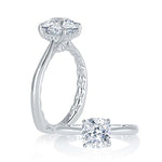A. Jaffe .06TW Diamond Engagement Ring Seasons of Love Collection Semi-Mounting in 18K White Gold