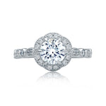 A Jaffe .31CTW Engagement Ring Semi Mount in 14K White Gold