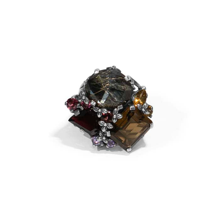 Stephen Dweck Large Flower Engraved Gemstone Ring in Sterling Silver