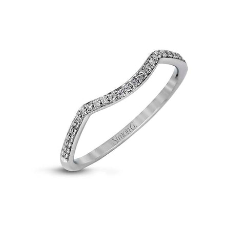 Simon G Wedding Band 18K White Gold with .07CTW Diamonds