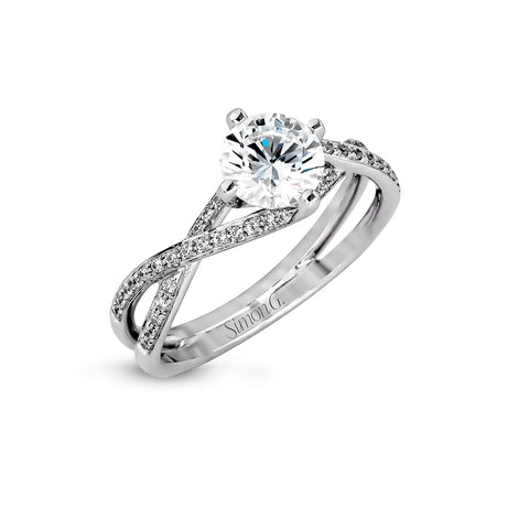 Simon G Engagement Ring Semi Mount Platinum with .14CTW Diamonds