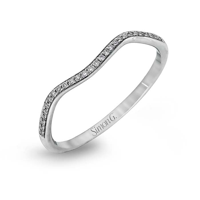 Simon G Fitted Diamond Wedding Band in 18K White Gold