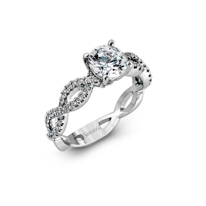 Simon G Engagement Ring Semi Mount 18K White Gold Ring with .30CTW Diamonds