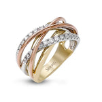 Simon G Cross Over Diamond Band in 18K White, Rose and Yellow Gold