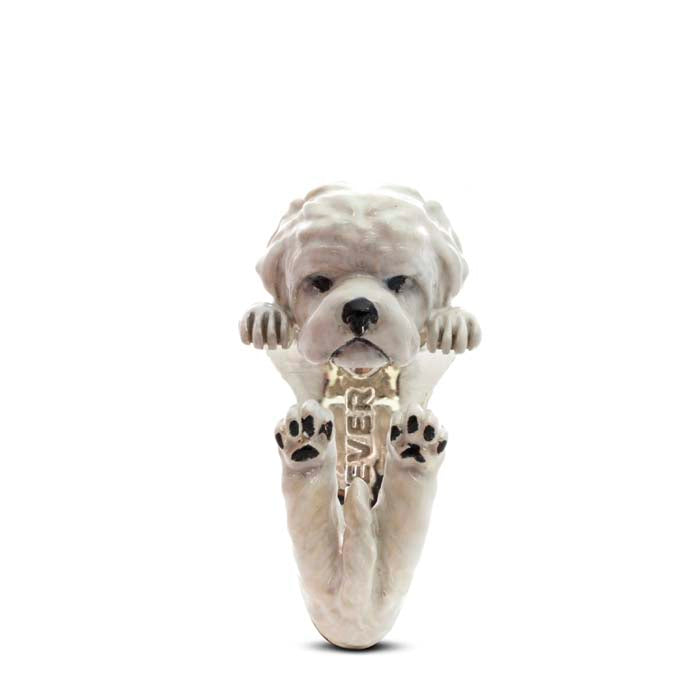 Dog Fever Maltese Hug Ring, Enameled Sterling Silver