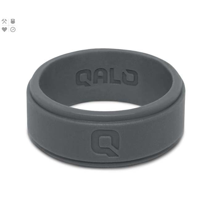 QALO Mens Charcoal Stepped Edge Q2X Medical Grade Silicone Wedding Band 8.7MM