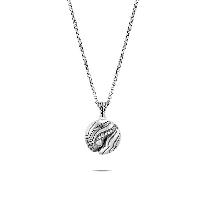 "John Hardy 18"" .07ctw Lahar in Sterling Silver Diamond Round Pendant"