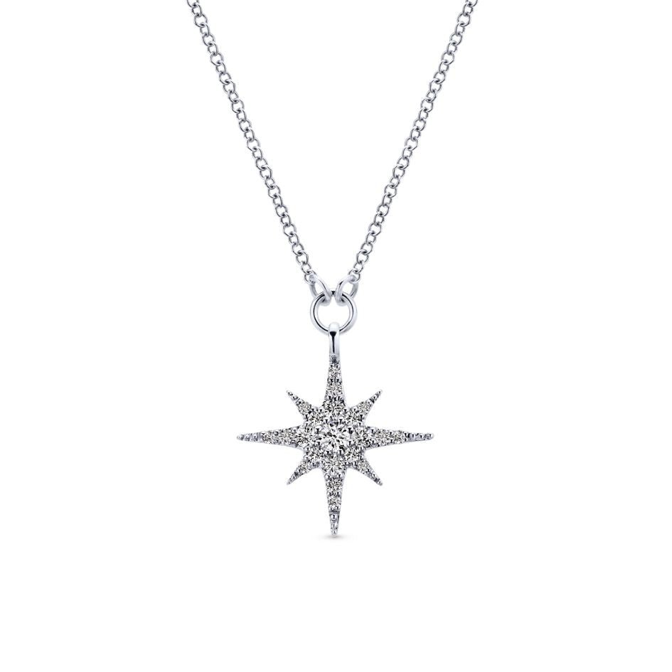"Gabriel & Co ""Starlis"" Collection .25CTW Diamond Pendant on 18"" Chain in 14K White Gold"