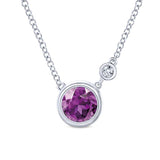 Gabriel Amethyst and Diamond Sterling Silver Fashion Bezel Station Necklace
