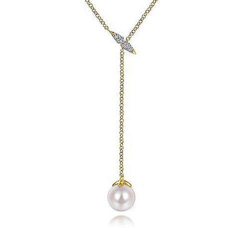 Gabriel & Co. Cultured Pearl and .04TW Y Knot Necklace in 14K Yellow Gold