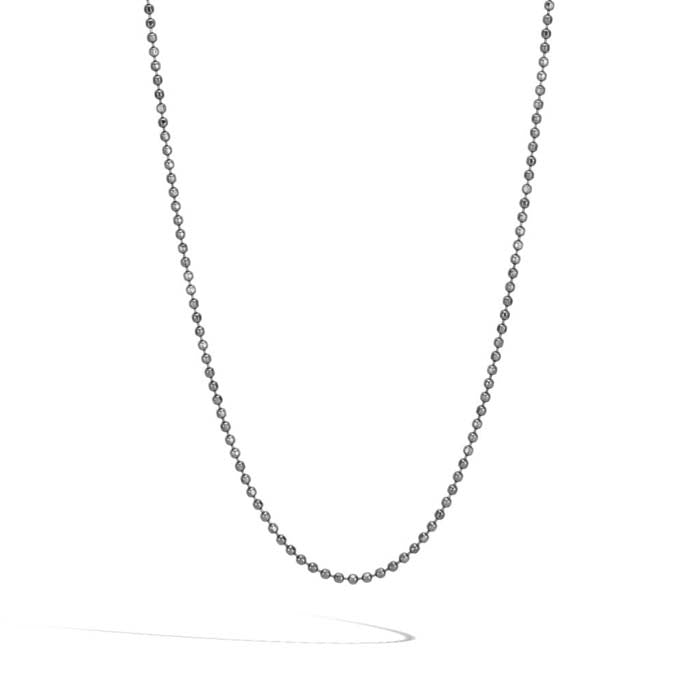 "John Hardy 22"" Gts 2MM Black Rhodium Plated Ball Chain with Black Rhodium Plated Lobster Clasp"