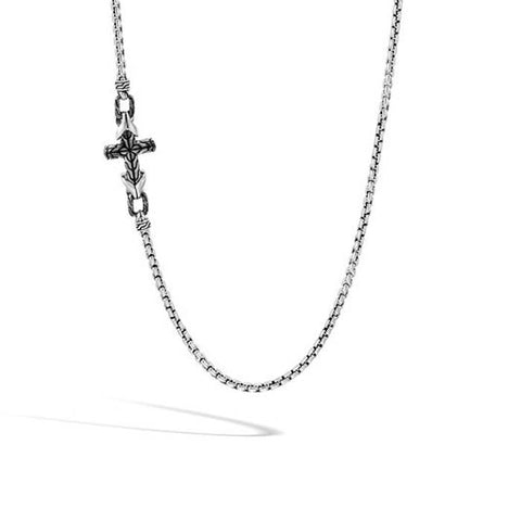 "John Hardy 26"" Asli Link Classic Chain Cross Necklace with Black Rhodium and Polished Sterling Silver"