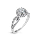 Simon G Halo Engagement Ring Semi Mount 18K White Gold with .47CTW Diamonds
