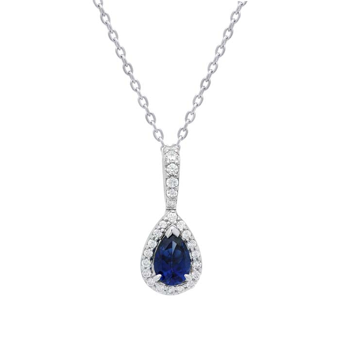 Fana Pear Shaped Sapphire Drop Diamond Halo Pendant in 14K White Gold