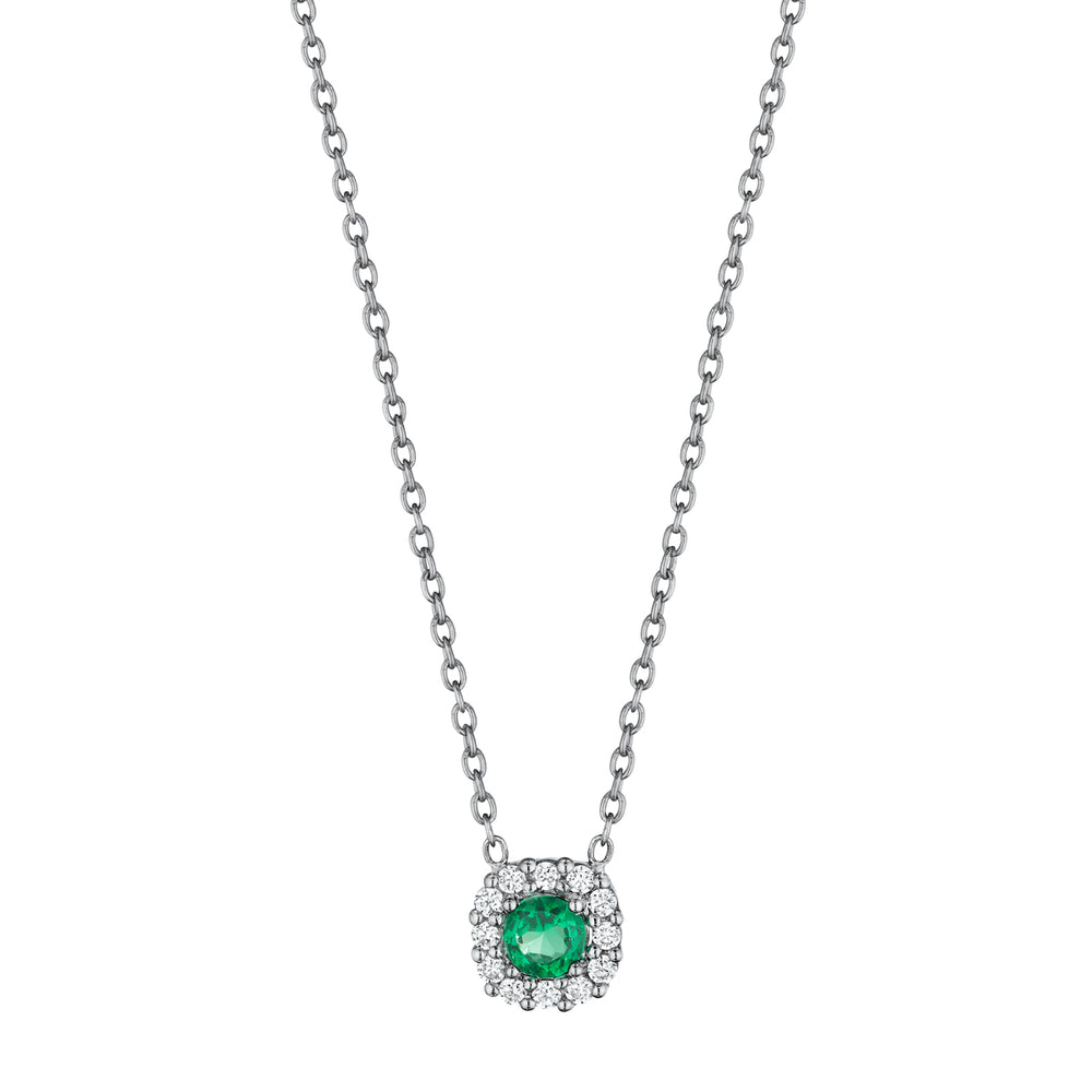 Fana Halo Slide 14K White Gold Pendant with .23CTW Emerald and .12CTW Diamonds