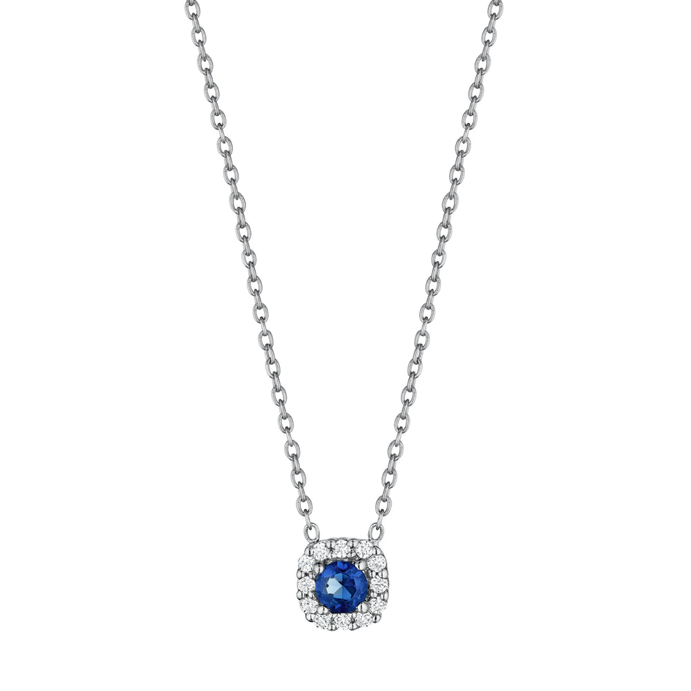 Fana Halo Slide 14K White Gold Pendant with Blue Sapphire and Diamonds