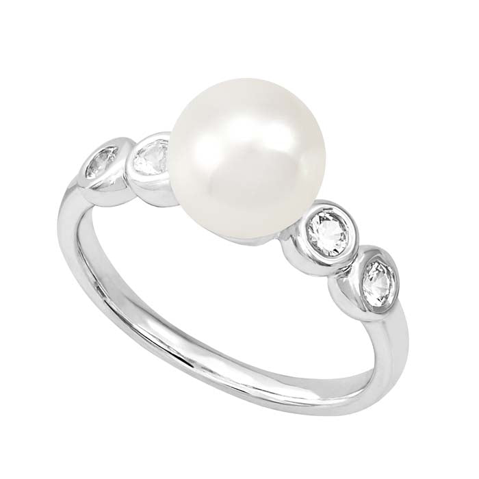 "Honora ""Sapp By the Yard Collection"" FWCP Ring with White Sapphires in Sterling Silver"