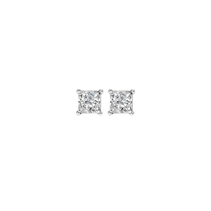 Mountz Collection .48-.54TW Princess Diamond Stud Earrings in 14K White Gold