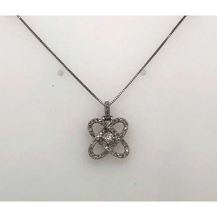 Mountz Collection 1/4CTW Love's Crossing Diamond Pendant on 18 Light Box Chain in Sterling Silver