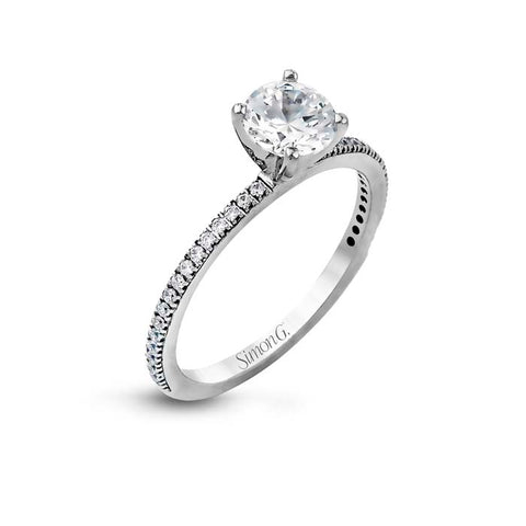 Simon G Engagement Ring Semi Mount 18K White Gold Ring with .14CTW Diamonds