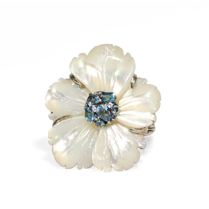 Stephen Dweck Medium Mother of Pearl Flower Ring with Swiss Blue Topaz Cluster Center in Sterling Silver