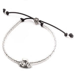 Dog Fever Poodle Head Bracelet, Sterling Silver with Adjustable Pull Cord