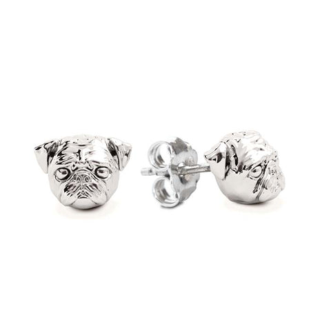 Dog Fever Pug Stud Earrings, Sterling Silver
