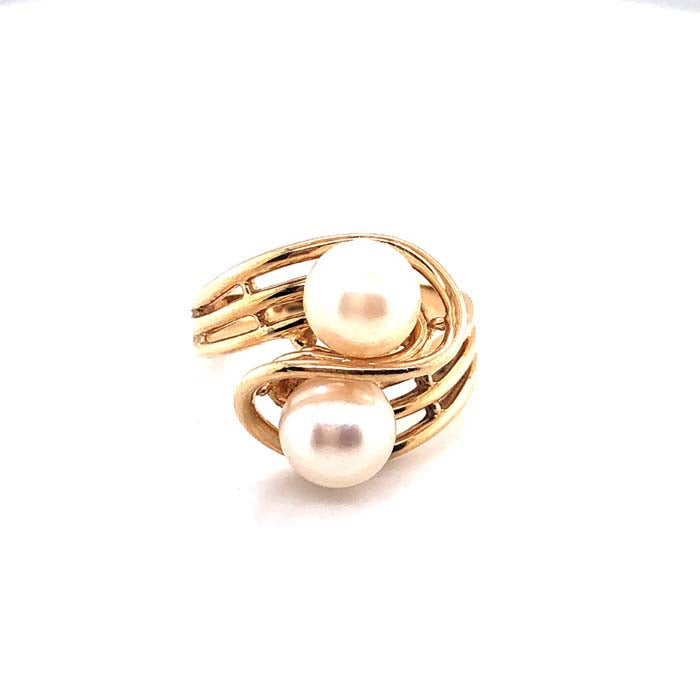 Estate Double Pearl Bypass Ring in 14K Yellow Gold