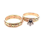 Estate Floral Wedding Set in 14K Yellow and Rose Gold