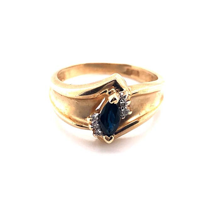 Estate Sapphire and Diamond Ring in 10K Yellow Gold