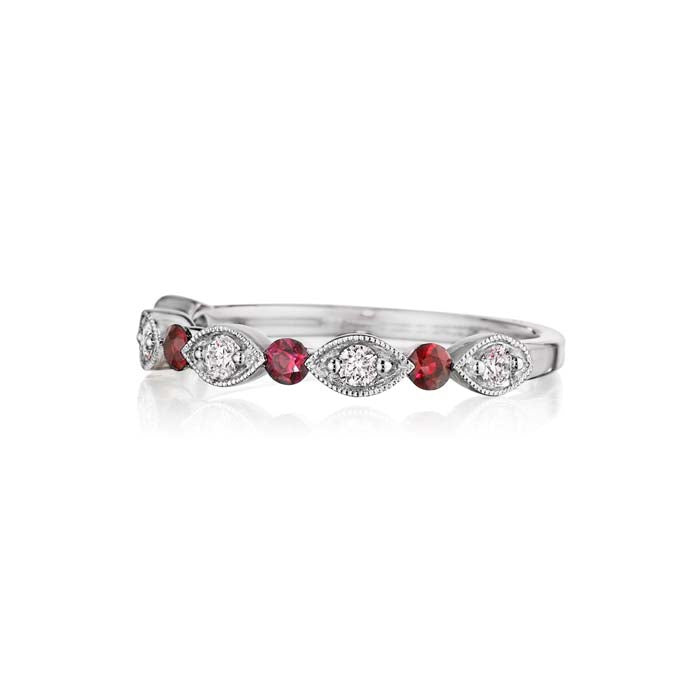 Henri Daussi .15TW Ruby and .15TW Diamond Wedding Band in 18K White Gold